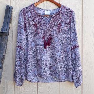Knox Rose Boho Peasant tunic top embroidery print